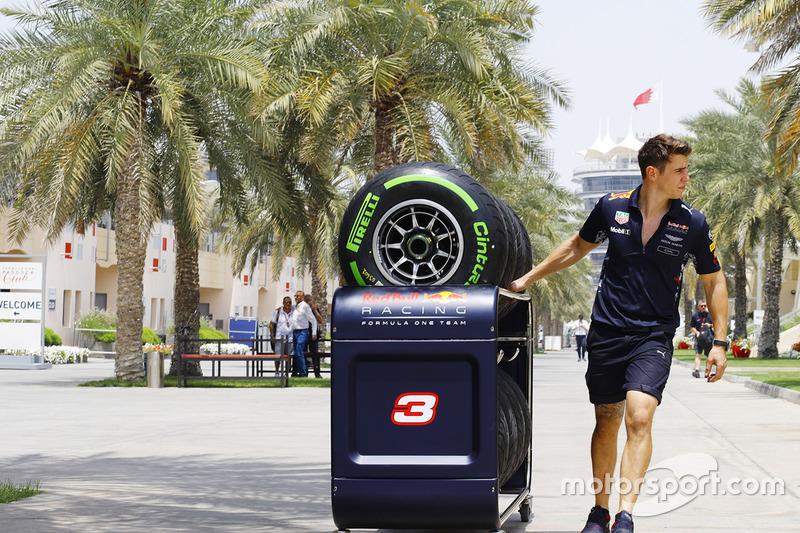 A Red Bull Racing team member at work