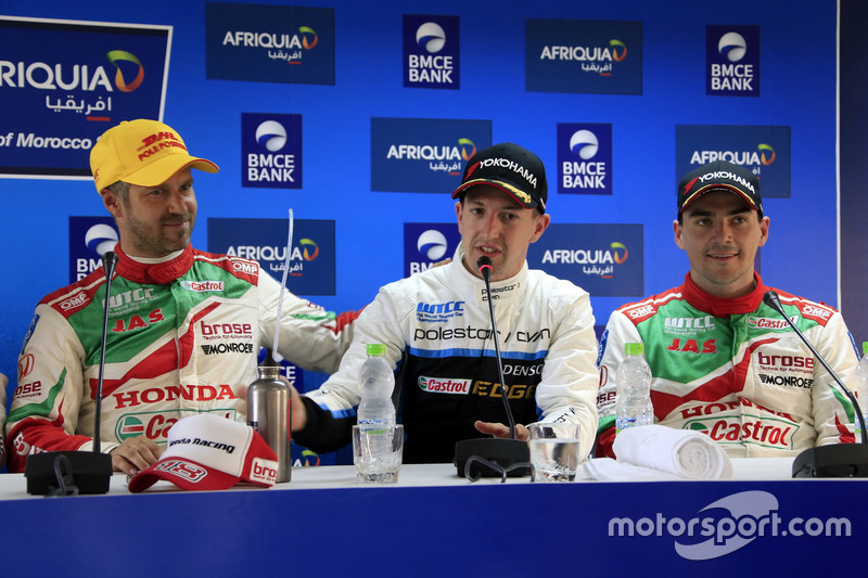Tiago Monteiro, Honda Racing Team JAS, Honda Civic WTCC, Nestor Girolami, Polestar Cyan Racing, Volvo S60 Polestar TC1, Norbert Michelisz, Honda Racing Team JAS, Honda Civic WTCC at the Press Conference