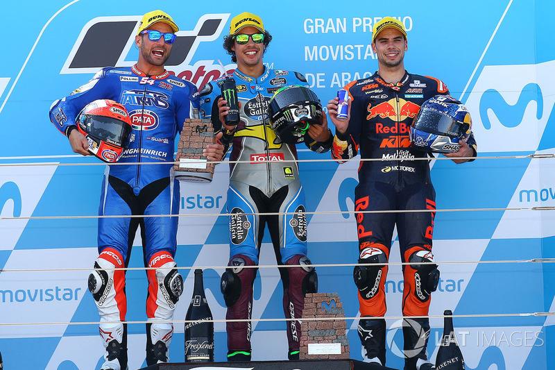 Podio: il vincitore della gara Franco Morbidelli, Marc VDS, il secondo classificato Mattia Pasini, Italtrans Racing Team, il terzo classificato Miguel Oliveira, Red Bull KTM Ajo