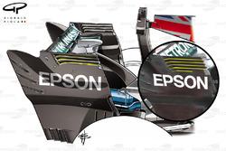 Comparaison des dérives d'aileron de la Mercedes W08, GP d'Italie