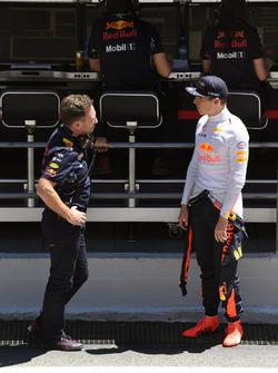 Christian Horner, Red Bull Racing Team Principal and Max Verstappen, Red Bull Racing