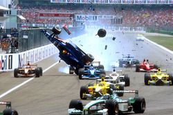 Luciano Burti, Prost AP04, after crashing into the back of the Ferrari of Michael Schumacher