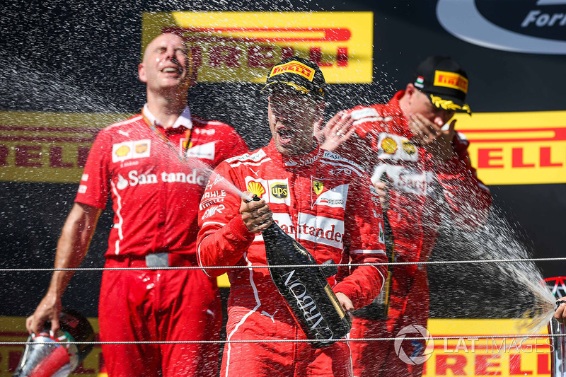 Podium: race winner Sebastian Vettel, Ferrari, second place Kimi Raikkonen, Ferrari, third place Valtteri Bottas, Mercedes AMG F1, Jock Clear, Ferrari Chief Engineer