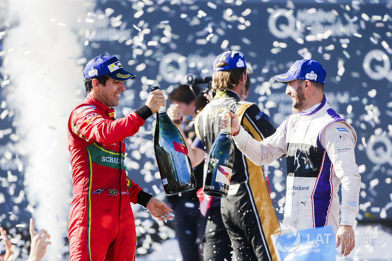 Lucas di Grassi, ABT Schaeffler Audi Sport, and Jose Maria Lopez, DS Virgin Racing, celebrate on the podiu