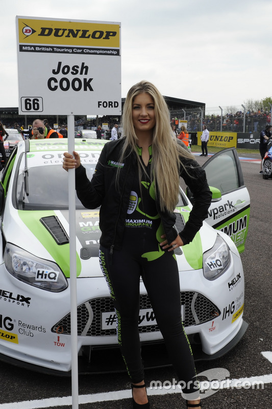 Grid girl, Josh Cook, Team Parker Racing Ford Focus