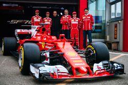 Kimi Raikkonen, Sebastian Vettel, Antonio Giovinazzi, Maurizio Arrivabene, Ferrari Team Principal, Sergio Marchionne,, Ferrari President and CEO of Fiat Chrysler Automobiles and Mattia Binotto, Ferrari chief technical officer