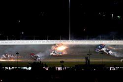 Crash: Rico Abreu, ThorSport Racing Toyota; Cameron Hayley, ThorSport Racing Toyota; Daniel Suarez,