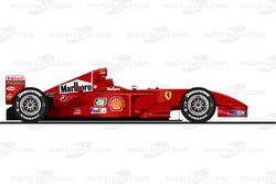 La Ferrari F2001 pilotée par Michael Schumacher en 2001<br/> Reproduction interdite, exclusivité Mot