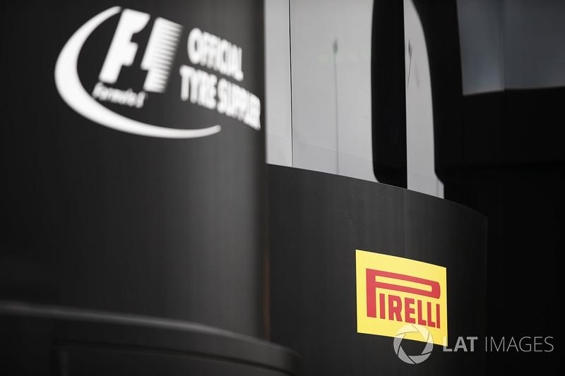 The Pirelli logo on a hospitality unit