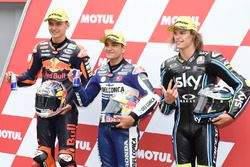 Top 3 after qualifying: Bo Bendsneyder, Red Bull KTM Ajo, Polesitter Jorge Martin, Del Conca Gresini
