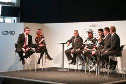 David Croft and Natalie Pinkham interview Vijay Mallya, Esteban Ocon and Sergio Perez at the Sahara