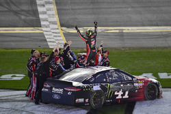 Kurt Busch, Stewart-Haas Racing Ford, celebrates after winning the Daytona 500