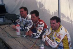 Race winner Eddie Lawson, Yamaha, second place Wayne Gardner, Honda, third place Niall Mackenzie, HB