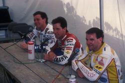Race winner Eddie Lawson, Yamaha, second place Wayne Gardner, Honda, third place Niall Mackenzie, HB-Honda