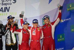 LMGTE Am Podium: third place #83 AF Corse Ferrari 458 Italia: Francois Perrodo, Emmanuel Collard, Ru