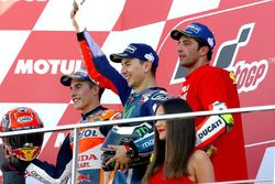 Podium : le vainqueur Jorge Lorenzo, Yamaha Factory Racing, le deuxième, Marc Marquez, Repsol Honda Team, le troisième, Andrea Iannone, Ducati Team
