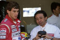 Ayrton Senna, McLaren Honda MP4/5B with Honda engine guru Osamu Goto