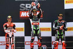 Podium: winner Jonathan Rea, Kawasaki Racing, second place Marco Melandri, Ducati Team, third place