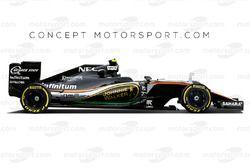 Предполагаемая ливрея команды Force India с логотипом Johnnie Walker