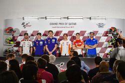 Cal Crutchlow, Team LCR, Honda; Maverick Vinales, Yamaha Factory Racing; Valentino Rossi, Yamaha Fac