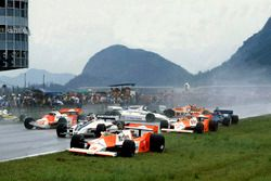 Start crash, with Andrea de Cesaris, McLaren M29F-Ford Cosworth; Hector Rebaque, Brabham BT49C-Ford