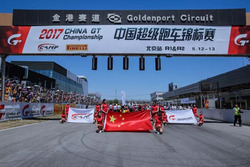Grid girls and flags