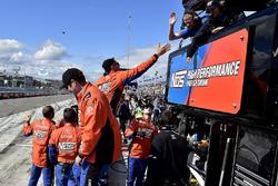 Crew of Joe Gibbs Racing Toyota celebrating