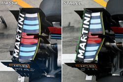 Williams FW40, rear wing comparison