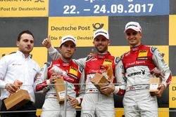 Il vincitore della gara René Rast, Audi Sport Team Rosberg, Audi RS 5 DTM, il secondo classificato Mike Rockenfeller, Audi Sport Team Phoenix, Audi RS 5 DTM, il terzo classificato Nico Müller, Audi Sport Team Abt Sportsline, Audi RS 5 DTM