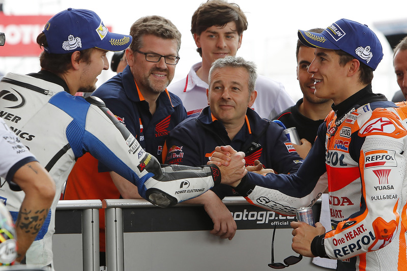 Polesitter Marc Marquez, Repsol Honda Team, second place Karel Abraham, Aspar Racing Team