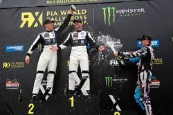 Podium: winner Petter Solberg, PSRX Volkswagen Sweden, second place Johan Kristoffersson, Volkswagen Team Sweden, third place Andreas Bakkerud, Hoonigan Racing Division Ford