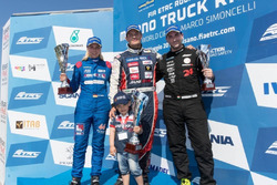 Podium: Race winner Adam Lacko, Freightliner, second place Steffi Halm, MAN, third place Norbert Kiss, Mercedes