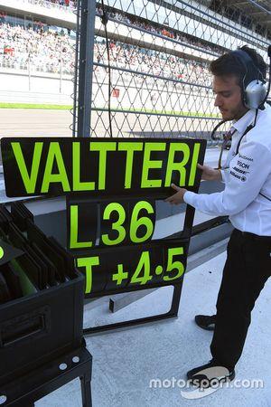 Un ingénieur Mercedes AMG F1 avec le panneau de Valtteri Bottas, Mercedes AMG F1