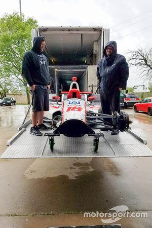 The car of Sébastien Bourdais, Dale Coyne Racing Honda being repaired
