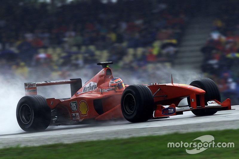 2000: Ferrari, 4º no campeonato (62 pts). A primeira vitória na F1 veio na Alemanha, em 2000. Largando de 18º, Barrichello conseguiu a terceira maior recuperação da história da categoria, ficando atrás apenas de John Watson (22º - EUA, 1983) e Bill Vukovich (19º - Indy 500, 1954).