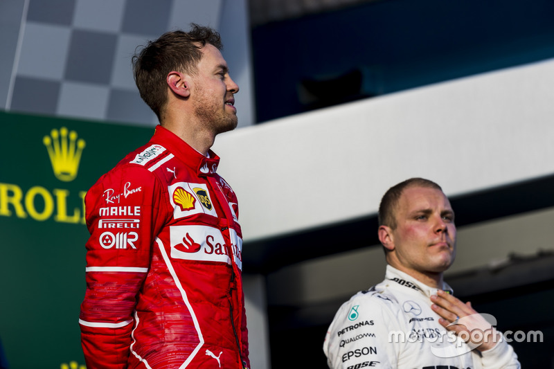 Sebastian Vettel, Ferrari y Valtteri Bottas, Mercedes AMG.