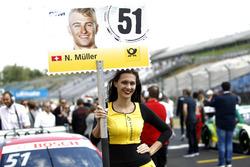 Grid girl of Nico Müller, Audi Sport Team Abt Sportsline, Audi RS 5 DTM