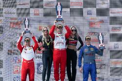 GTS Podium: race winner Ian James, Team Panoz Racing, second place Lawson Aschenbach, Blackdog Speed Shop, third place George Kurtz, GMG Racing