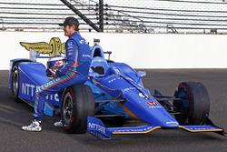 Scott Dixon, Chip Ganassi Racing Honda poses for front row photos