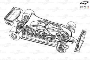 Ferrari 312T4, vista 3/4, bianco e nero