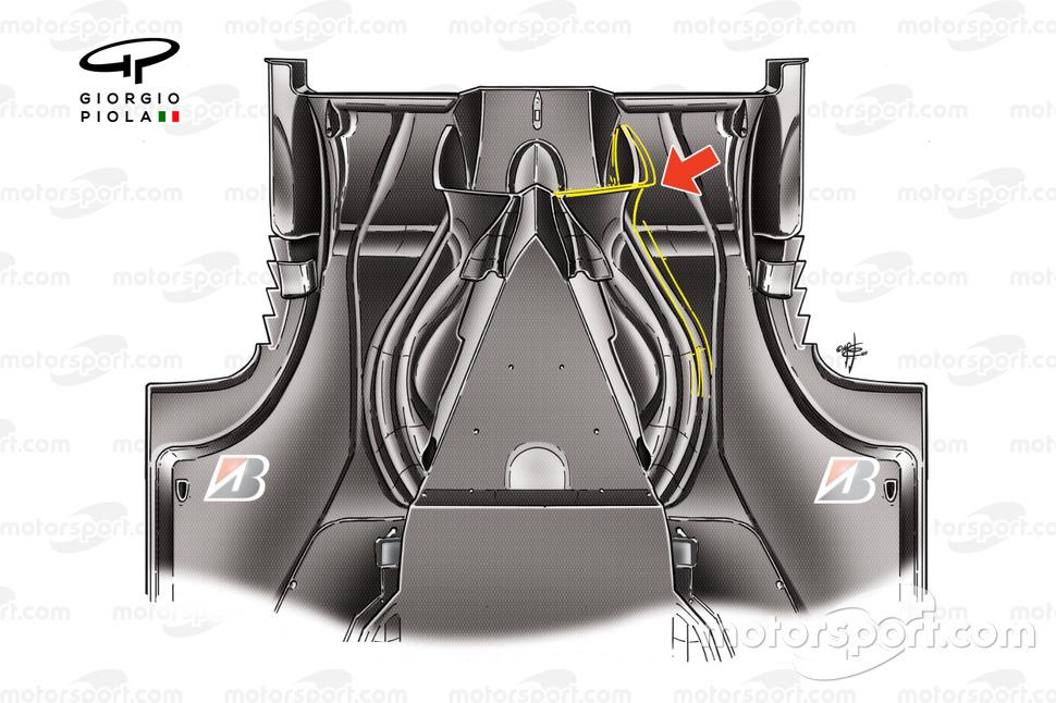 Vista inferior del difusor del Ferrari F60 (660) 2009