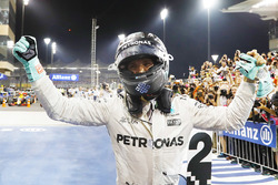 Second place and world champion Nico Rosberg, Mercedes AMG F1, celebrates in Parc Ferme