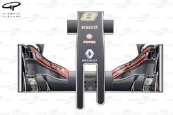 Vue de dessus du nez et de l'aileron avant de la Lotus E22