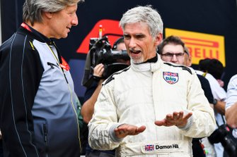 Damon Hill after driving the Lotus 49 driven to the 1968 title by his father Graham Hill