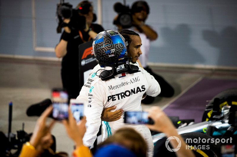 Valtteri Bottas, Mercedes AMG F1, 2nd position, and Lewis Hamilton, Mercedes AMG F1, 1st position, celebrate after the race