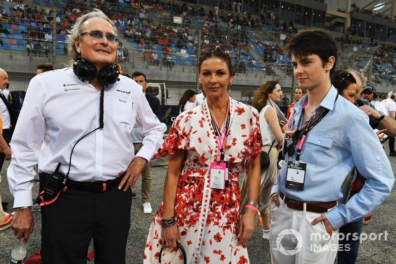 Mansour Ojjeh, co-owner, McLaren, and Actress Catherine Zeta Jones on the grid