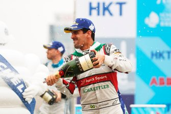 Lucas Di Grassi, Audi Sport ABT Schaeffler, 3rd position, celebrates with a champagne shower on the podium