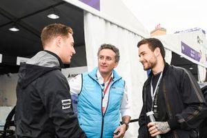 Singer Liam Payne meets Stoffel Vandoorne, HWA Racelab, VFE-05, Alejandro Agag, CEO, Formula E