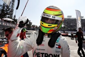 Esteban Gutierrez (MEX) celebrates after winning a race