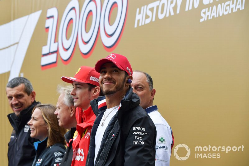 Guenther Steiner, Team Principal, Haas F1, Claire Williams, Deputy Team Principal, Williams Racing, Gene Haas, Owner and Founder, Haas F1, Charles Leclerc, Ferrari, Frederic Vasseur, Team Principal, Alfa Romeo Racing, and Lewis Hamilton, Mercedes AMG F1